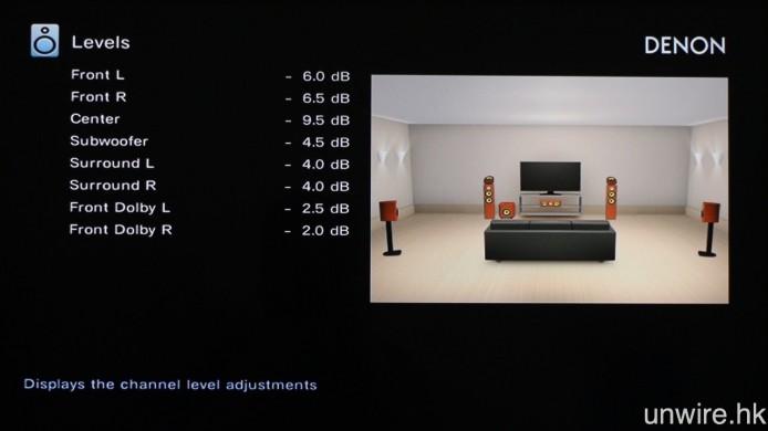 最後使用音壓計,增減各聲道的輸出音壓,直至音壓計獲得 75dB 讀數為止。