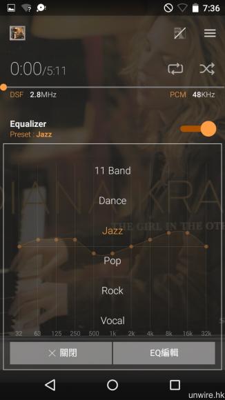 內置的《Music》音樂播放 app 採用上下捲動式設計,EQ 模式設定設於底層介面,共有 7 種預設 EQ 模式。