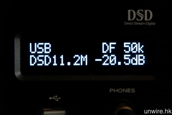 USB-DAC 功能最高支援 32bit/384kHz PCM 及 11.2MHz DSD 訊號。