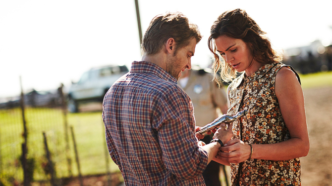 """CHILDHOOD'S END -- """"The Overlords"""" Episode 101 -- Pictured: (l-r) Mike Vogel as Ricky Stormgren, Daisy Betts as Ellie -- (Photo by: Ben King/Syfy)"""