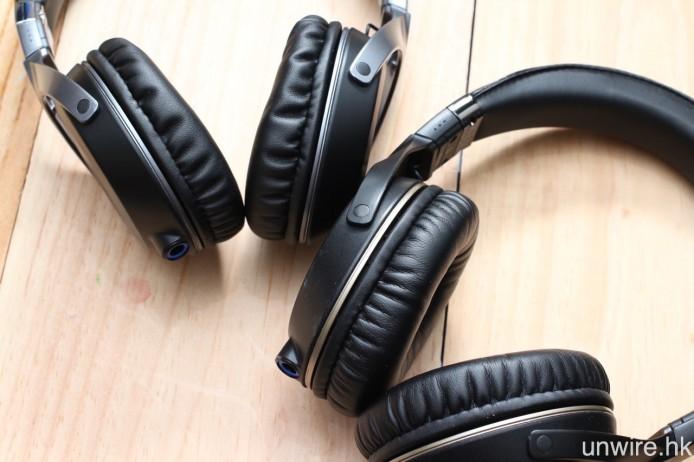 HA-SS01(右)在耳機擋板及耳墊之間加入金屬抑震環,減低震動對音質的影響。