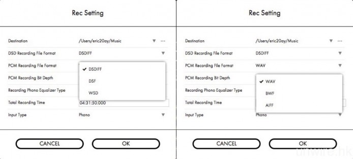 進行錄音時,可以選擇 DSD(檔案格式為 DSDIFF、DSF 或 WSD)或 PCM(檔案格式為 WAV、BWF 或 AIFF)。
