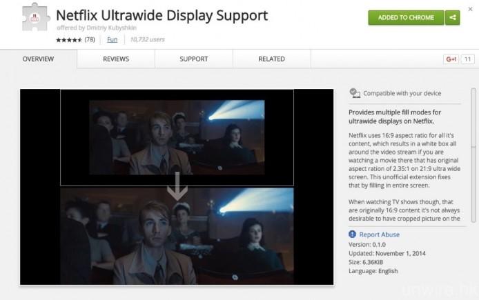 讀者還提及《Chrome》中有一個名為《Netflix Ultrawide Display Support》的 Plug-In,可讓使用 21:9 特闊顯示屏的用戶,可以全屏方式觀看 Netflix 影片,如有需要亦可自行安裝使用。