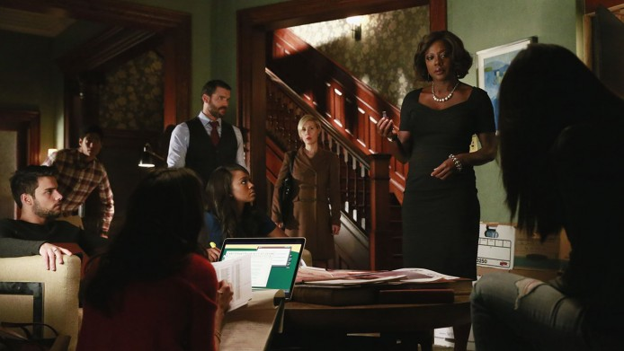 """HOW TO GET AWAY WITH MURDER - """"It's All My Fault"""" - Wes, Connor, Michaela and Laurel may have dug themselves in too deep a hole for Annalise to save them, and the shocking truth about Lila's murder is finally revealed, on the season finale of """"How to Get Away with Murder,"""" THURSDAY FEBRUARY 26 (10:00-11:00 p.m., ET) on the ABC Television Network. (ABC/Mitchell Haaseth) JACK FALAHEE, ALFRED ENOCH, CHARLIE WEBER, AJA NAOMI KING, LIZA WEIL, VIOLA DAVIS"""