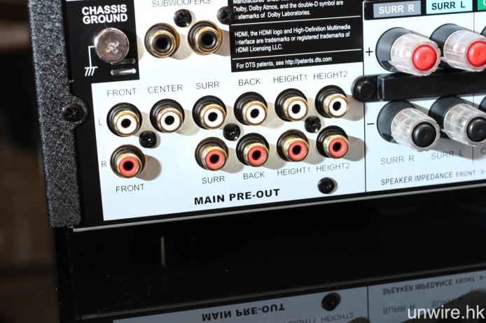 以及 11.2 聲道 Pre Out 輸出端子,令 MRX 1120 可充當純前級擴音機使用。