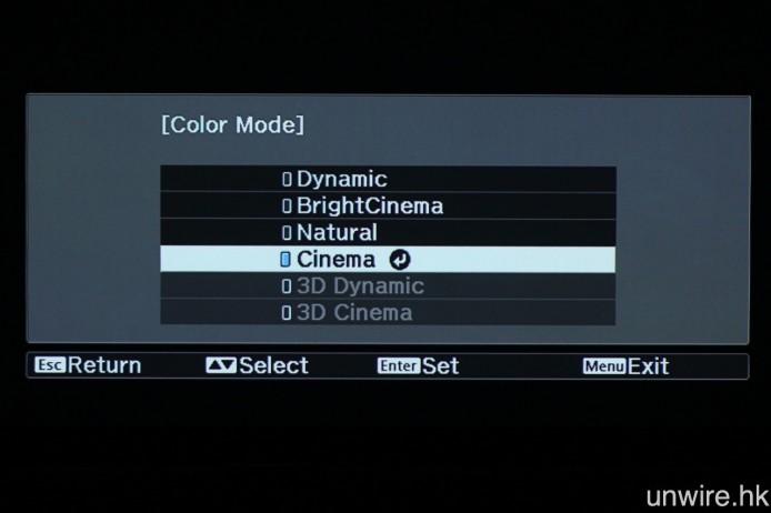 預設圖中 4 種預設畫面模式,以及兩種專為 3D 投影而設的預設畫面模式。