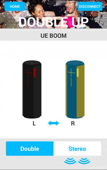 艾域首度接觸搭載「雙重連接模式」的藍牙喇叭就是 UE Boom,而該喇叭亦對應以一對喇叭作立體聲輸出。
