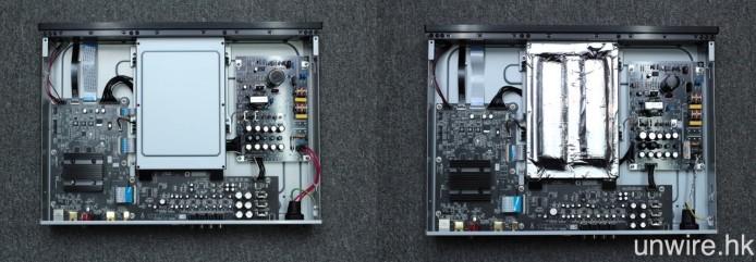 至於內部方面,線路板亦繼續分為左邊的數碼影像、中間下方的模擬音效、中間上方的碟盤及右方的電源 4 部分,與原版(左圖)相比,SE 版本在碟盤上就加入了兩條抑震用的工業橡膠長條。