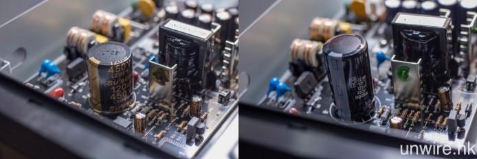 電源電路板上的開關電容,由 Su'scon LZ 系列(左圖)改為 Panasonic ED 系列(右圖)。