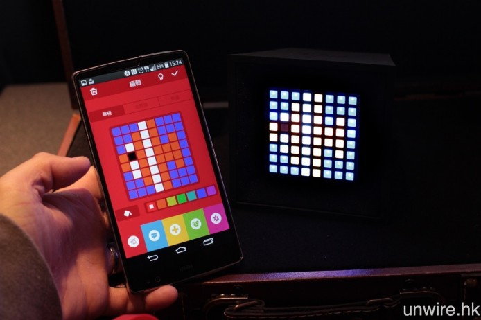 完成藍牙配接並開啟《Ye!!Pixel》app,就可將各種圖示傳送至 PixelBoom 顯示。