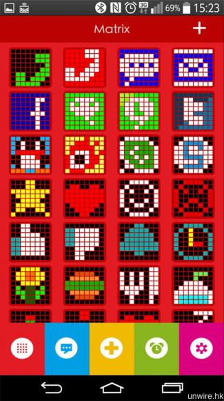 《Ye!!Pixel》預設多種 8 x 8 陣列圖案,用家亦可自行設計圖案。
