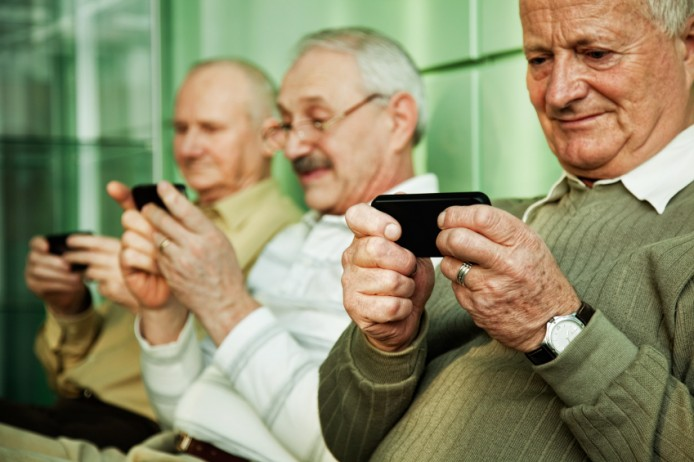 seniors browsing their smart phones
