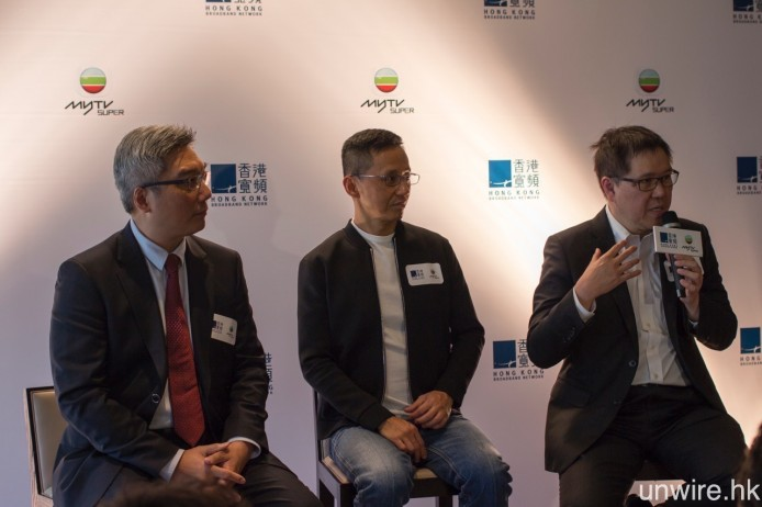 無綫電視執行董行兼總經理鄭善強(右)以及助理總經理杜之克(左)表示,myTV SUPER 的內容將會使用最新之 HEVC 編碼,部分節目更會提供 4K 解像度。
