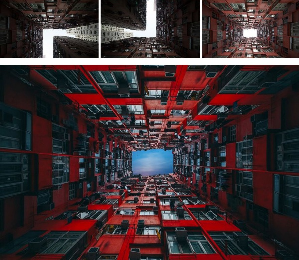 從不同角度拍攝出多張相片,然後再翻轉及無縫合成出四面圍牆的效果