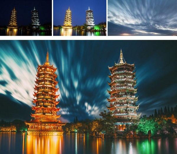 以 Photoshop 將兩張不同曝光的相片結合,Adobe Cameraraw 固定透視,最後結合天空相片並以 Nik Color Efex Pro 調色