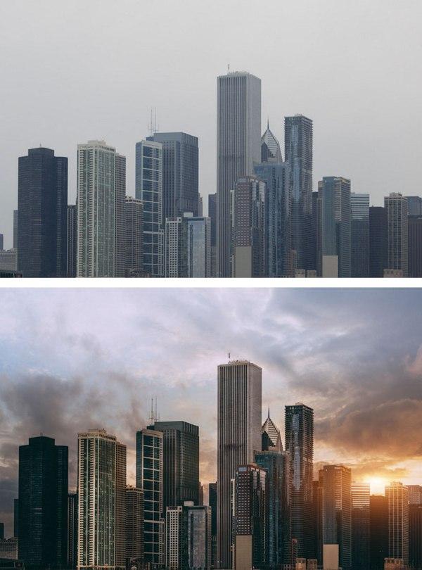 調整對比度及色彩,以減少煙霧及增加色溫,最後再以 Photosho 加入太陽光線效果