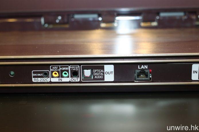 其他端子還包括 Ethernet、3.5mm AV、3.5mm 色差輸入,以及光纖和 3.5mm mini jack Audio 輸出。