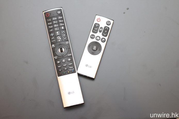 4 款全新 OLED 4K HDR TV,均會隨機附送左邊全新設計的 Magic Remote,而高階型號 E6 及 G6 則會加送右邊的簡化版遙控器,當中 E6 為銀色設計,而 G6 則會用上金色。