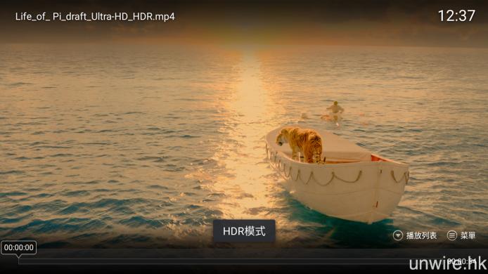 透過 USB 試播 HDR-10 格式影片,X43 會自動進入 HDR 顯示格式。