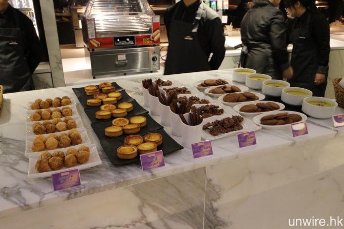 一樓小食部將提供圖中由日籍糕點廚師松原明日香,專為 BEA Festival Suite 炮製的特色美食,包括芝士撻、牛油曲奇泡芙條及朱古力果仁脆片等等。