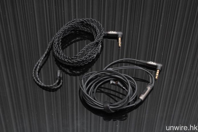 隨機附送以低阻抗鍍銀無氧銅線芯製成的編織雙絞線(左),以及設有單鍵式免提線控之標準接線(右)各一條。