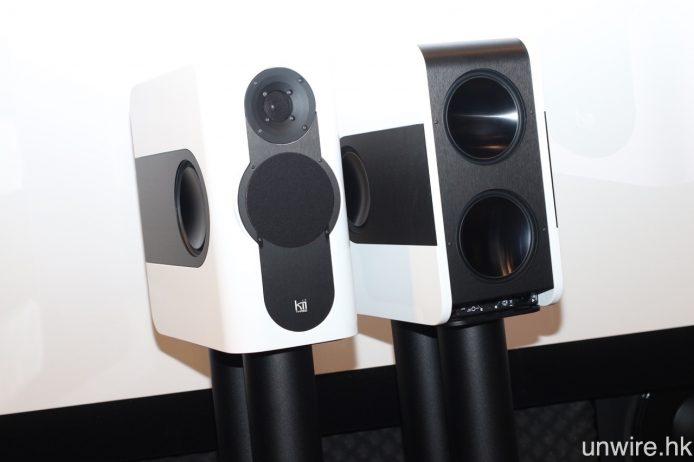 由米樂影音代理之全新德國品牌 Kii 的喇叭 Three,機身正面設有 1 吋高音及 5 吋中音單元,一對書架喇叭已可做到 20Hz 至 25kHz 的頻率響應範圍,一對索價 $94,800。