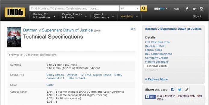想知道 4K UHD BD 是否原生 4K 拍攝及製作,可以登入 IMDb 參考一下相關資訊。