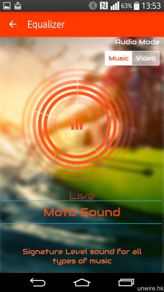 在《Hubble》app 中,更可選擇針對「Music」及「Video」而各自調校的 6 種預設 EQ 模式。