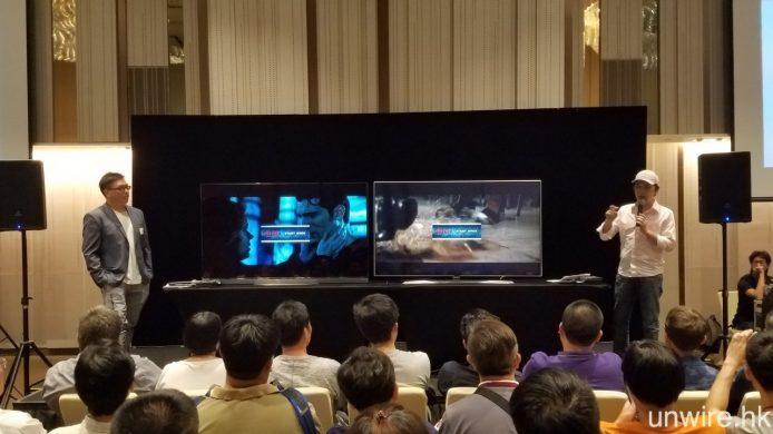 除兩部 E6 平排展示外,在活動開始時我們亦安排 E6 與 UH9500 Super UHD TV