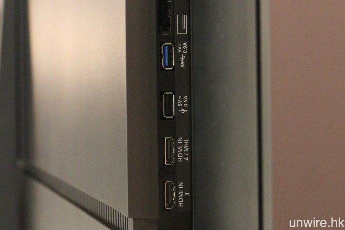 兩款電視機均設有 4 組 HDMI 2.0 及 3 組 USB 輸入端子,前者支援 HDCP 2.2,可傳輸 4K 內容。