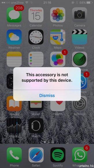 反而將 Lightning EarPods 連接至 iOS 9 的 iPhone 6,則會顯示配件不支援。