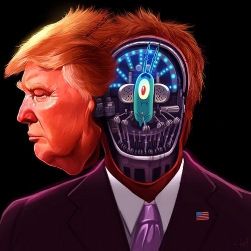 原來特朗普是由《海綿寶寶》奸角「皮老闆」控制的機械人!
