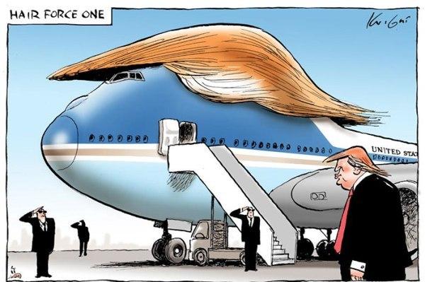 「空軍一號」(Air Force One)變成了 Hair Force One!