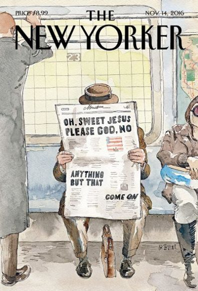 《The New Yorker》下一期封面,顯示選民急於想選出下一任總統。