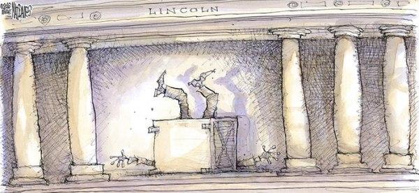 林肯紀念堂的林肯像都嚇到瞓低了!