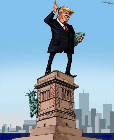 特朗普神像取代自由神像……