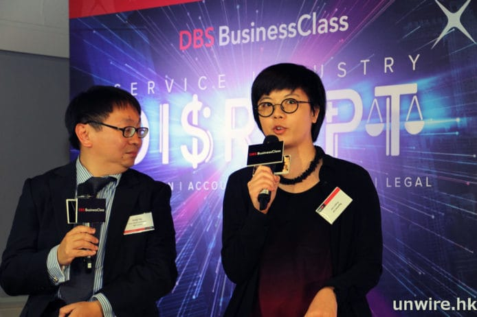 Dragon Law 聯合創辦人共同創辦人黎曉洋 (Ryanne Lai)(右)表示,Dragon Law 希望將科技融合法律,為中小企提供簡單的法律服務,例如在網上登入後回答簡單問題就能生成合約等法律文件,同時中小企又能負擔相關收費。