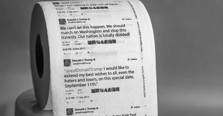 不滿特朗普 就用他的 Tweet 文抹屁股
