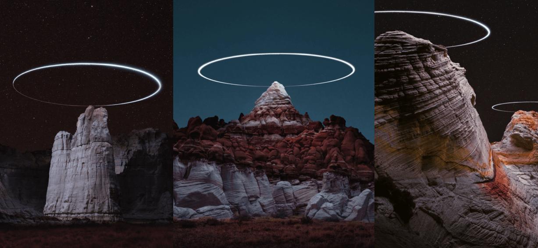 航拍機裝LED燈夜攝 拍出大石「光環」作品