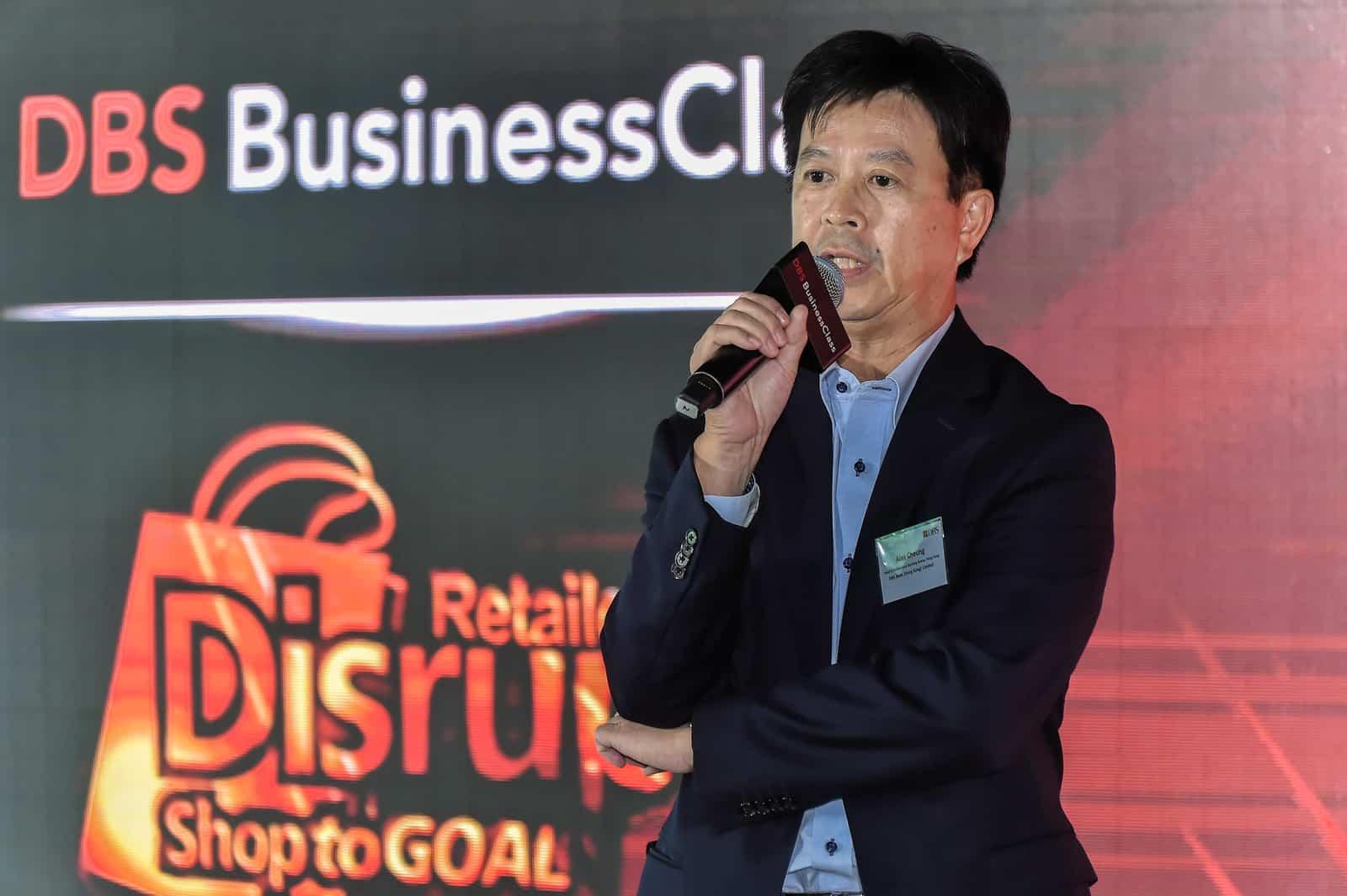 星展銀行(香港)董事總經理兼企業及機構銀行總監張建生 (Alex Cheung)先生為 DBS BusinessClass 零售業創新科技活動主持開幕演講。